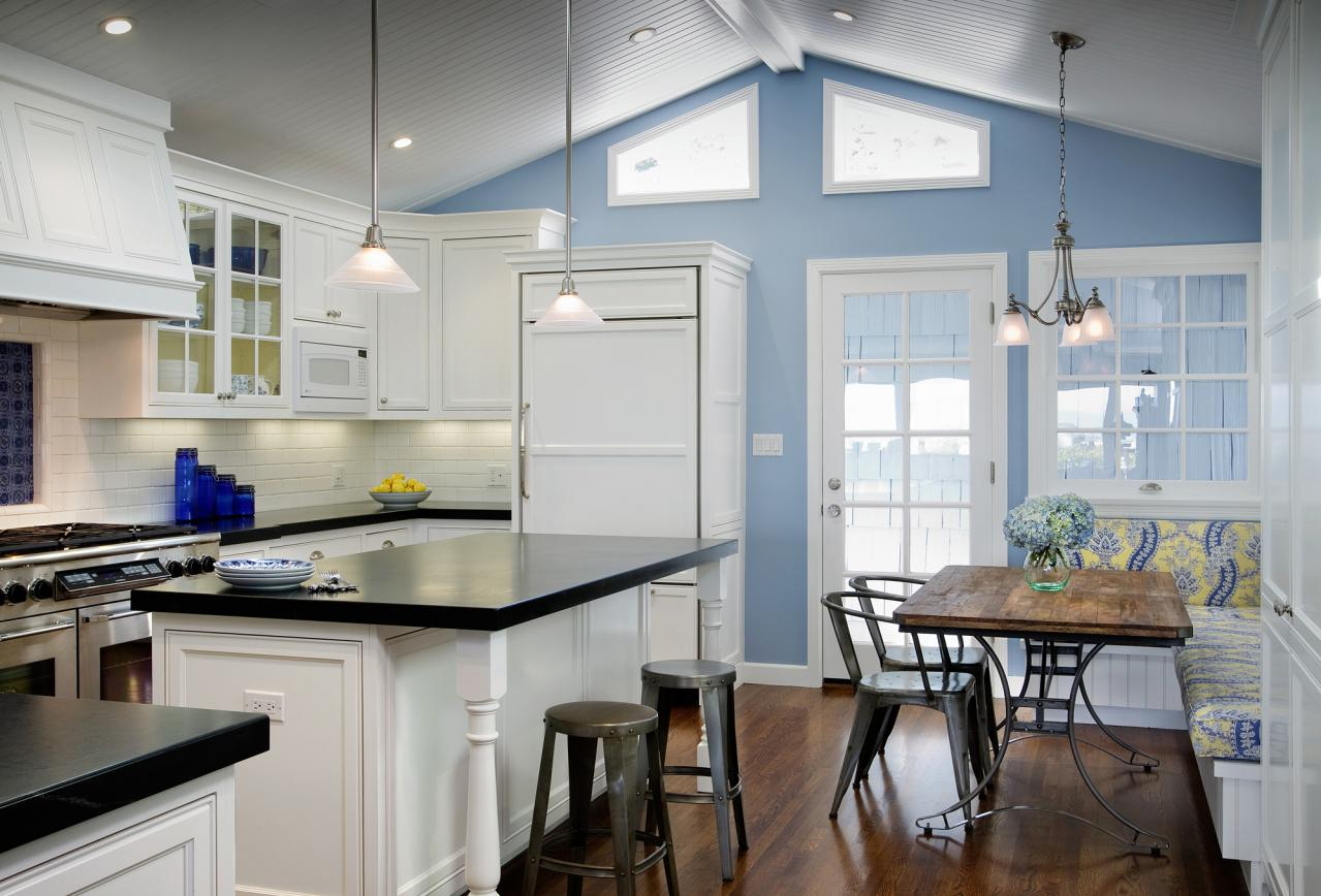The Kitchen Addition Is All New Construction And Features A Custom Built In Fridge Range Hood Beadboard Ceiling Laced Stained Oak Floor